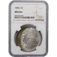1896 $1 MORGAN SILVER DOLLAR COIN MINT STATE 63 STAR NGC TONED