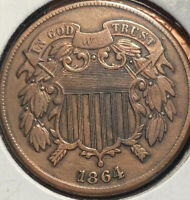 BEAUTIFUL 1864 2 CENT PIECE WITH REVERSE DIE CRACK
