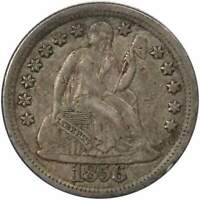 1856 LARGE DATE 10C SEATED LIBERTY SILVER DIME COIN EXTRA FINE  EF  FINE