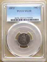 1872 SEATED LIBERTY DIME, F-115, R5, 175 ROTATED DOUBLE DIE REVERSE, PCGS VG10
