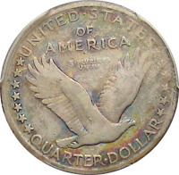 1917-S TYPE 1 STANDING LIBERTY QUARTER, COOL & COLORFUL ALBUM TONING, PCGS F12