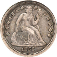 1856 SM. DATE SEATED LIBERTY DIME EXTRA FINE  45, NGC 10C C00045672