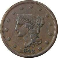 1842 1C BRAIDED HAIR LARGE CENT PENNY COIN VF  FINE