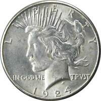 1924 S $1 PEACE SILVER DOLLAR COIN AU/BU ABOUT UNCIRCULATED / UNCIRCULATED