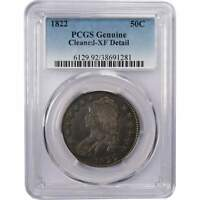 1822 50C CAPPED BUST SILVER HALF DOLLAR COIN EXTRA FINE  EF  FINE DETAILS PCGS
