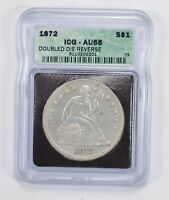 AU55 1872 SEATED LIBERTY SILVER DOLLAR - WITH MOTTO - ICG GRADED 2037