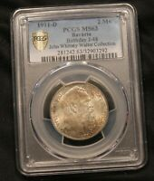 1911 D GERMANY BAVARIA 2 MARKS SILVER MS63 PCGS. JOHN WHITNEY WALTER COLLECTION