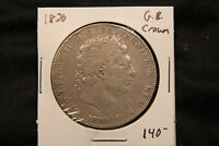 1820 GREAT BRITAIN SILVER CROWN. KING GEORGE III. SAINT GEORGE SLAYING DRAGON