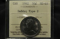 1982 CANADA 50 CENTS ICCS MS 65 SMALL BEADS; TYPE 2. R VARIETY.