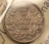 1905 CANADA 10 CENTS SILVER DIME ICCS F 15. KING EDWARD VII COIN. BV $60