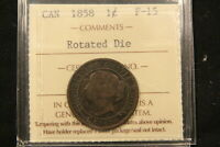 1858 ROTATED DIES ERROR. CANADA LARGE CENT ICCS F 15 CERTIFIED. KEY DATE COIN.