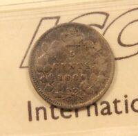 1889 CANADA SILVER 5 CENTS ICCS F 12. FINE. BV $65