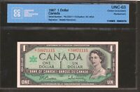 1967 $1 BANK OF CANADA.  NO REPLACEMENT STAR NOTE N/O. UNC 63 CCCS. BC 45BA