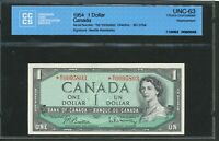 1954 $1 BANK OF CANADA.  M/Y REPLACEMENT  MY. CHOICE UNC 63 CCCS. BC 37BA.