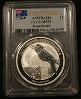 2016 P AUSTRALIA KOOKABURRA 1 OZ SILVER. MS70 PCGS FIRST STRIKE. PERFECT GRADE.