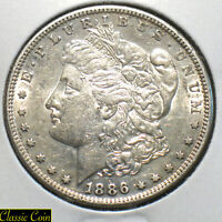 1886-S MORGAN SILVER DOLLAR $1 AU DETAILS 90 SILVER TOUGH DATE SOME LUSTER