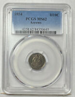 1854 P HALF DIMES LIBERTY SEATED PCGS MINT STATE 62 ARROWS