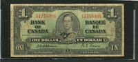 1937 OSBORNE TOWERS $1 BANK OF CANADA ONE DOLLAR BANKNOTE. BC 21A