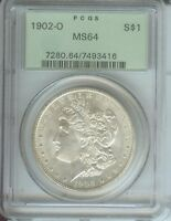 1902-O MORGAN SILVER DOLLAR S$1 PCGS MINT STATE 64 OLD GREEN HOLDER OGH PREMIUM QUALITY