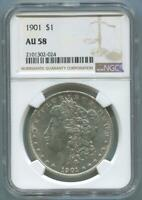 1901 MORGAN SILVER DOLLAR. NGC AU58