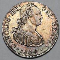 1804 MO TH CHARLES IV IIII MEXICO CITY SILVER 2 TWO REALES C