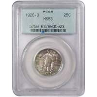 1926 D 25C STANDING LIBERTY SILVER QUARTER COIN MINT STATE 63 PCGS