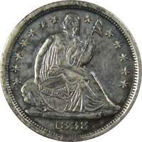 1838 LARGE STARS 5C SEATED LIBERTY SILVER HALF DIME COIN AU ABOUT UNCIRCULATED