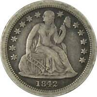 1842 O 10C SEATED LIBERTY SILVER DIME COIN VF  FINE