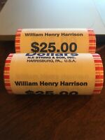2009 WILLIAM HENRY HARRISON PRESIDENTIAL $1 COIN ROLLS BOTH P&D