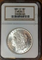 1884-CC MORGAN DOLLAR NGC MINT STATE 64 UNTONED AND WHITE