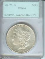1879-S MORGAN SILVER DOLLAR S$1 PCGS MINT STATE 64 MINT STATE 64 FIRST GENERATION RATTLER HOLDER