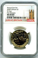 2020 GREAT BRITAIN 2PD NGC MS68 DPL V E VE DAY VICTORY FIRST