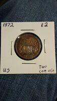 1872 TWO CENT US COIN