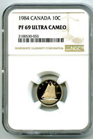 1984 CANADA PROOF 10 CENT NGC PF69 ULTRA CAMEO DIME SUPER