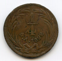 MEXICO 1829 MO A 1/4 REAL MEXICO CITY  1 YEAR TYPE BROWN VF.