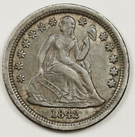 1842-O SEATED LIBERTY DIME.   ORIGINAL UNCLEANED EXTRA FINE -AU.  146742