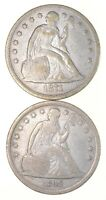 LOT 2 1842 & 1871 SEATED LIBERTY SILVER DOLLARS 2758