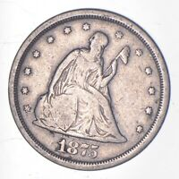 TOUGH   1875 S TWENTY CENT PIECE   EARLY US TYPE COIN   HIST