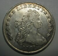 1801 HERALDIC EAGLE SILVER DOLLAR GRADING EXTRA FINE  GENUINE COIN EXCEPTIONAL QUALITY T6