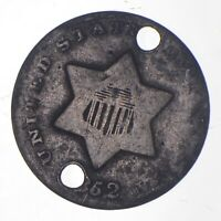 SILVER TRIME 1852 HOLED THREE CENT SILVER 3 CENT EARLY US C