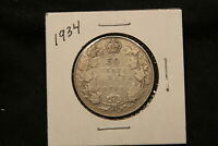 1934 CANADA SILVER 50 CENTS KING GEORGE V. R DATE COIN.