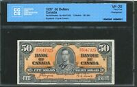 1937 $50 BANK OF CANADA. VF 20 CCCS CERTIFIED. BC 26C.