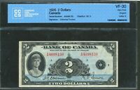 1935 $2 BANK OF CANADA. VF 30 CCCS. BC 3.