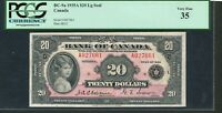 1935 $20 BANK OF CANADA.  LARGE SEAL PCGS VF35. BC 9A. MAKE AN OFFER.
