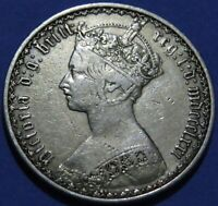1871 GREAT BRITIAN STERLING SILVER FLORIN COIN VF COND. 'GOT