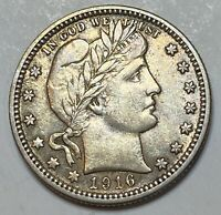 1916 D BARBER LIBERTY SILVER QUARTER LAST YEAR ISSUE