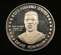 1990 1991 NBA 1 OZ .999 SILVER DAVID ROBINSON SAN ANTONIO SPURS ROOKIE OF YEAR