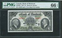 1935 $5 BANK OF MONTREAL. 505 60 02. PMG GEM UNC66 EPQ. TIED FINEST.