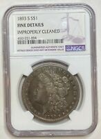 1893 S MORGAN SILVER DOLLAR NGC CERTIFIED FINE DETAILS