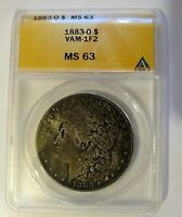 1883 O MINT STATE 63 MORGAN DOLLAR VAM 1F2 DIE CLASHED NE & US & REVERSE M HIGHER GRADE